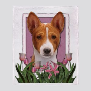 Mothers Day Pink Tulips Basenji Throw Blanket