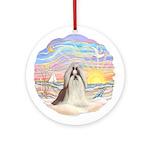 OceanSunrise-ShihTzu#10 Ornament (Round)