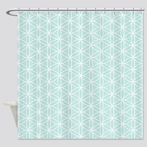 Flower Of Life Ptn Wt On Teal Shower Curtain