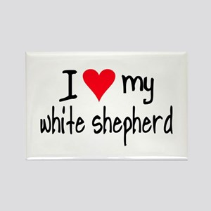 I LOVE MY White Shepherd Rectangle Magnet