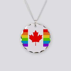 Canadian Gay Pride Flag Necklace Circle Charm