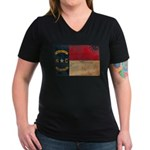 North Carolina Flag Women's V-Neck Dark T-Shirt