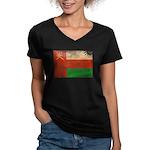 Oman Flag Women's V-Neck Dark T-Shirt
