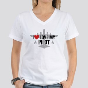 I Love My Pilot Women's V-Neck T-Shirt