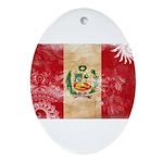 Peru Flag Ornament (Oval)