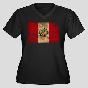 Peru Flag Women's Plus Size V-Neck Dark T-Shirt