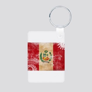 Peru Flag Aluminum Photo Keychain