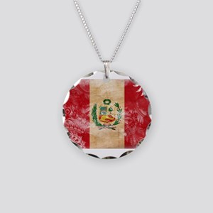 Peru Flag Necklace Circle Charm