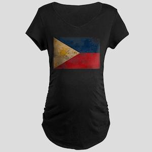 Philippines Flag Maternity Dark T-Shirt