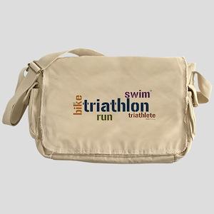 Triathlon Text Blue Messenger Bag