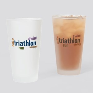 Triathlon Text Blue Drinking Glass