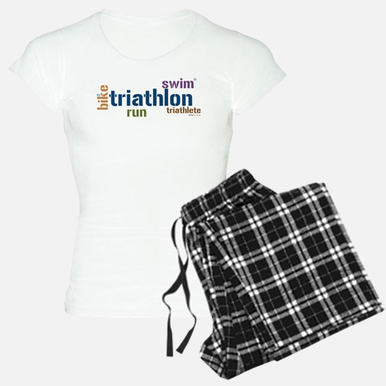 Triathlon Text Blue Pajamas