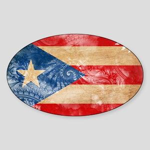 Puerto Rico Flag Sticker (Oval)