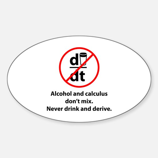 Never drink and derive Sticker (Oval)