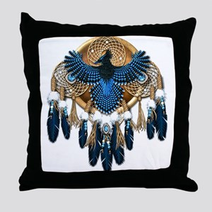 Steller's Jay Dreamcatcher Mandala Throw Pillow