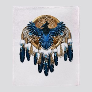Steller's Jay Dreamcatcher Mandala Throw Blanket