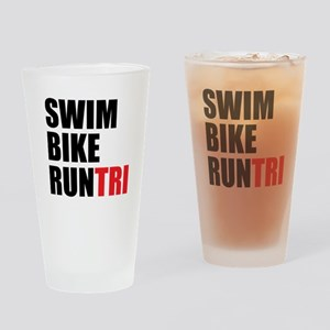 Swim Bike Run Tri Drinking Glass
