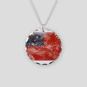 Samoa Flag Necklace Circle Charm