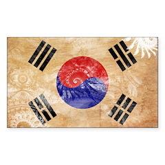 South Korea Flag Sticker (Rectangle 10 pk)
