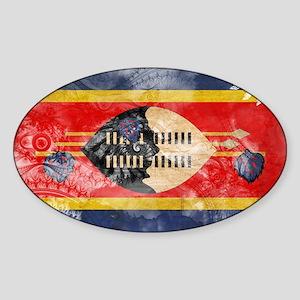 Swaziland Flag Sticker (Oval)