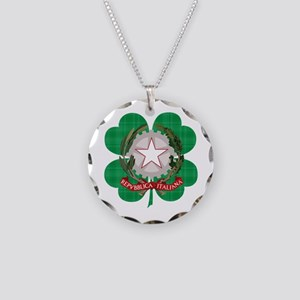 Irish Italian Heritage Necklace Circle Charm