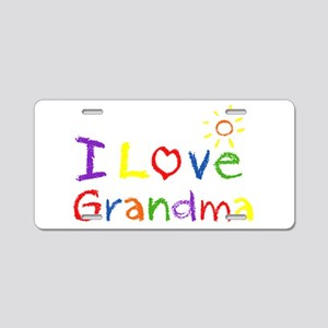 I Love Grandma Aluminum License Plate