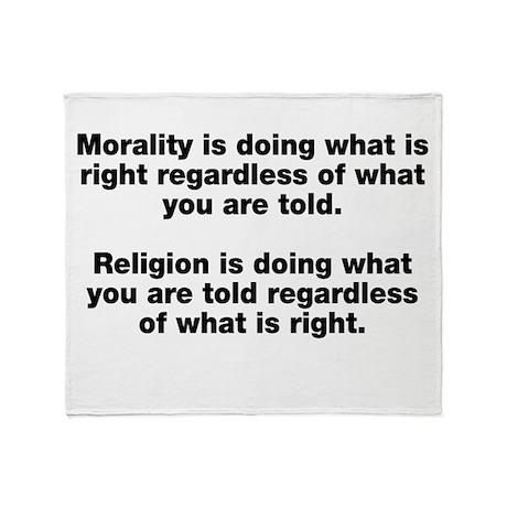 Morality Versus Religion Throw Blanket