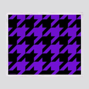 Purple and Black Houndstooth Throw Blanket