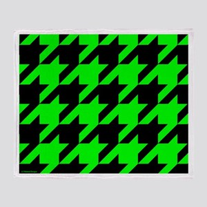 Green and Black Houndstooth Throw Blanket