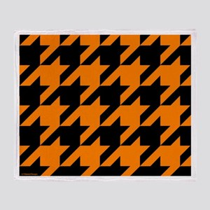 Orange and Black Houndstooth Throw Blanket