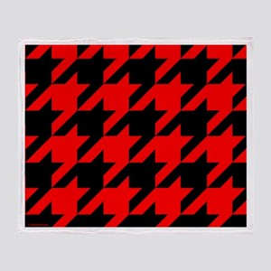 Red and Black Houndstooth Throw Blanket