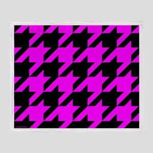 Pink and Black Houndstooth Throw Blanket