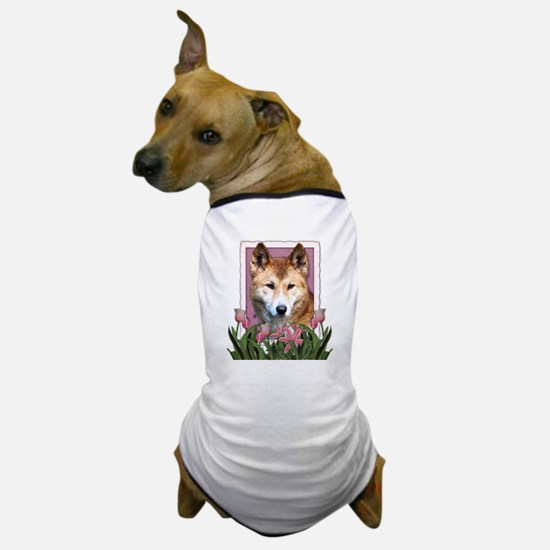 Mothers Day Pink Tulips Dingo Dog T-Shirt