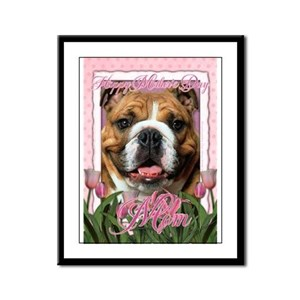 Mothers Day Pink Tulips Bulldog Framed Panel Print