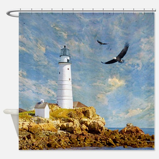 Rocky Lighthouse and Eagles Shower Curtain