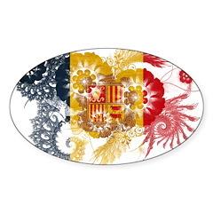 Andorra Flag Sticker (Oval 10 pk)