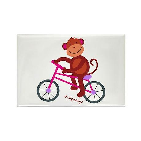 Monkey in Bike - Pink Rectangle Magnet