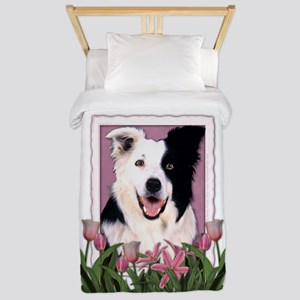 Mothers Day Pink Tulips Border Collie Twin Duvet