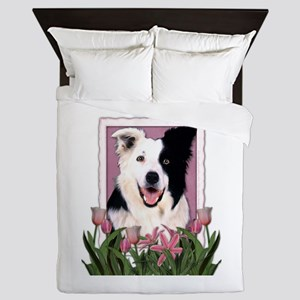 Mothers Day Pink Tulips Border Collie Queen Duvet