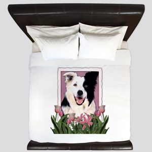 Mothers Day Pink Tulips Border Collie King Duvet