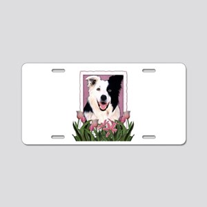 Mothers Day Pink Tulips Border Collie Aluminum Lic