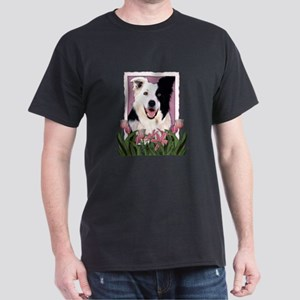 Mothers Day Pink Tulips Border Collie Dark T-Shirt