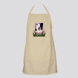 Mothers Day Pink Tulips Border Collie Apron