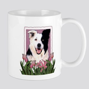 Mothers Day Pink Tulips Border Collie Mug