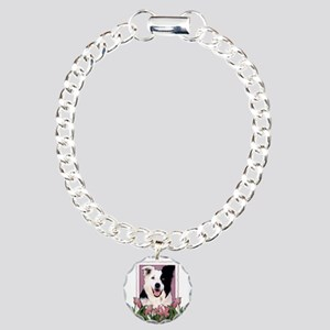 Mothers Day Pink Tulips Border Collie Charm Bracel