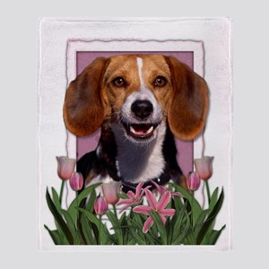Mothers Day Pink Tulips Beagle Throw Blanket