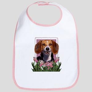 Mothers Day Pink Tulips Beagle Bib