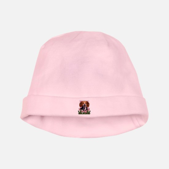 Mothers Day Pink Tulips Beagle baby hat