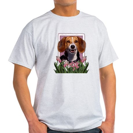 Mothers Day Pink Tulips Beagle Light T-Shirt