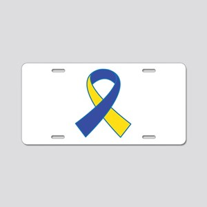 Yellow and Blue Ribbon Aluminum License Plate